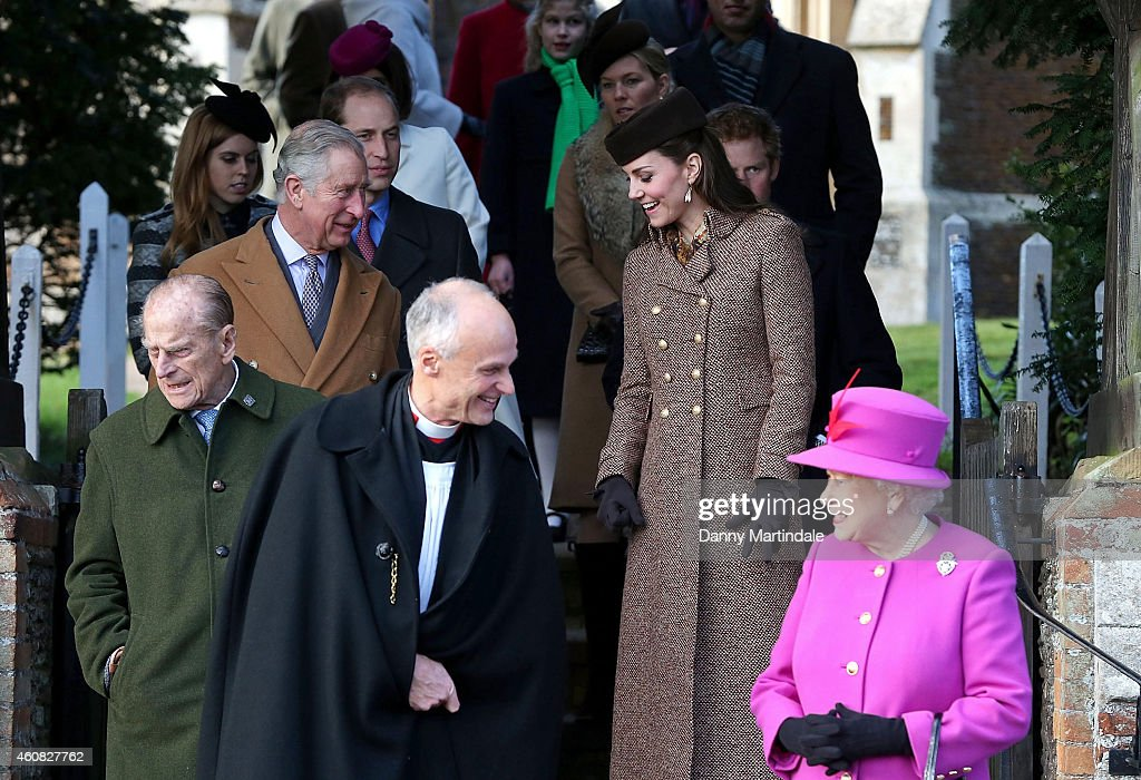 Queen Elizabeth II leaves church with Prince William, Duke of Cambridge, Catherine, Duchess of Cambridge, Prince Philip, Duke of Edinburgh, Prince Charles, Prince of Wales and Prince Harry during the Christmas Day church service at Sandringham on December 25, 2014 in King's Lynn, England.