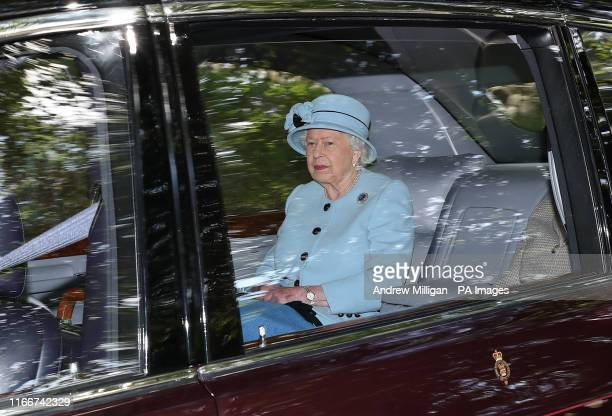 Queen Elizabeth II leaves Crathie Kirk after attending a Sunday morning church service near Balmoral, where members of the royal family are currently...