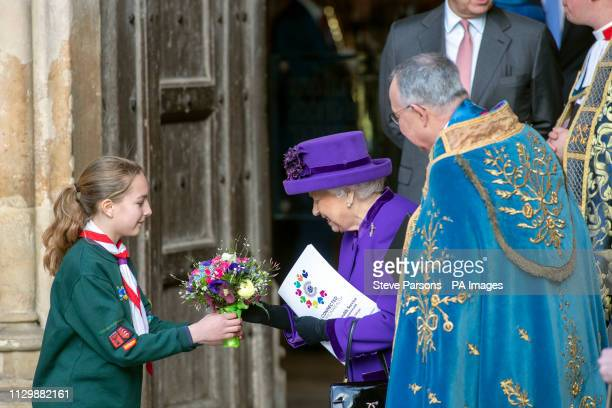 Queen Elizabeth II leaves following the Commonwealth Service at Westminster Abbey London