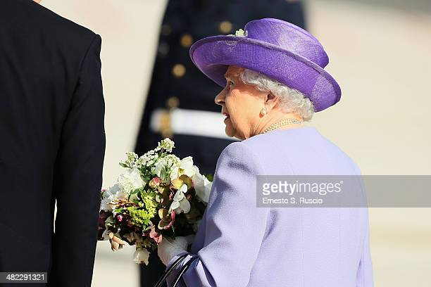 Queen Elizabeth II leaves from Ciampino Airport on April 3 2014 in Ciampino Italy The Queen and the Duke of Edinburgh are on a one day visit to Italy...
