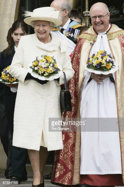 Queen Elizabeth II leaves Guildford Catheral after attending the Royal Maundy Service on April 13 2006 in Guildford England
