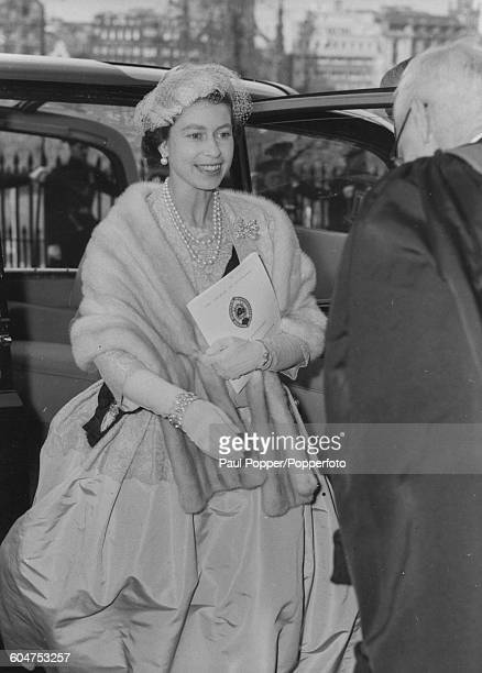Queen Elizabeth II leaves her car as she arrives for a special service at St Giles' Cathedral marking the fourth centenary of the reformation of...
