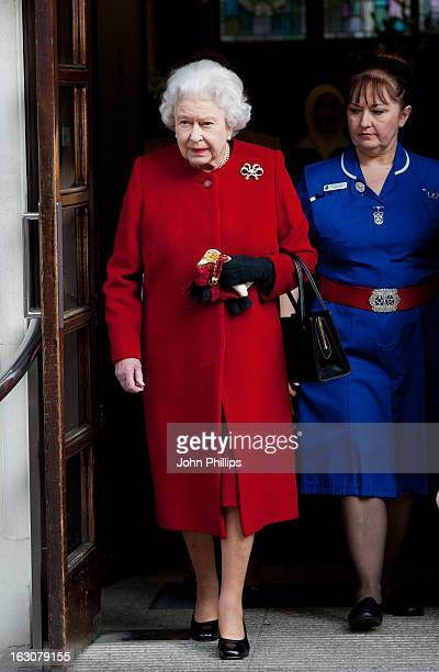 Queen Elizabeth II leaves King Edward II Hospital after being admitted with symptoms of gastroenteritis at King Edward VII Hospital on March 4 2013...