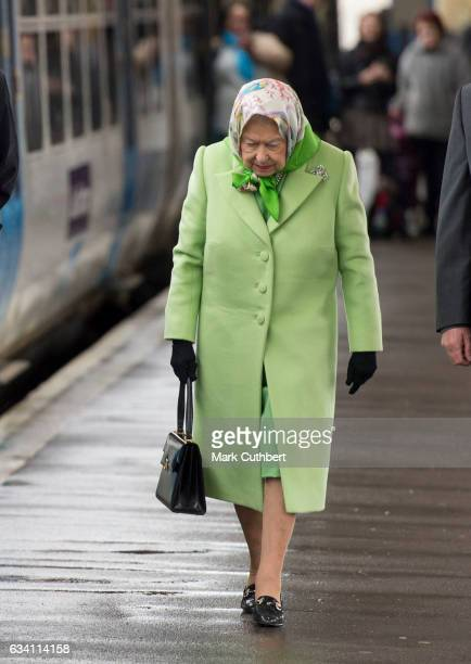 Queen Elizabeth II leaves Kings Lynn Station after the Christmas break at Sandringham on February 7 2017 in King's Lynn United Kingdom