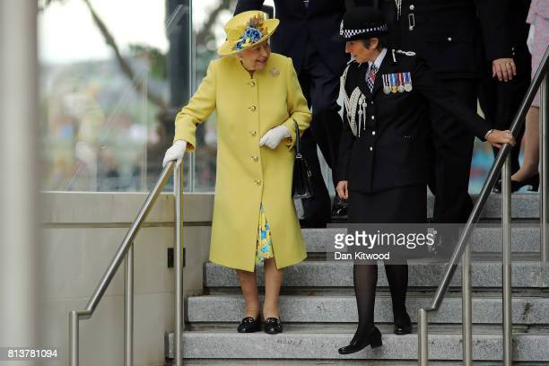 Queen Elizabeth II leaves New Scotland Yard with Metropolitan Police commissioner Cressida Dick on July 13 2017 in London England The visit marked...