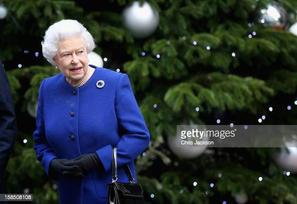 Queen Elizabeth II leaves Number 10 Downing Street after attending the Government's weekly Cabinet meetingon December 18 2012 in London England