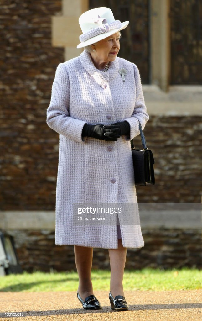 Queen Elizabeth II leaves Sandringham Church after the traditional Christmas Day service at Sandringham on December 25, 2011 in King's Lynn, England. The Queen and the Duke of Edinburgh traditionally lead the royals in attending a church service at Sandringham Church on Christmas Day. It is the Duchess of Cambridge's first Christmas at Sandringham after her marriage to Prince William, Duke of Cambridge in April of this year. This year the Duke of Edinburgh mised the service as he is in Papworth Hospital after having cardiac surgery to fit a stent in his coronary artery.