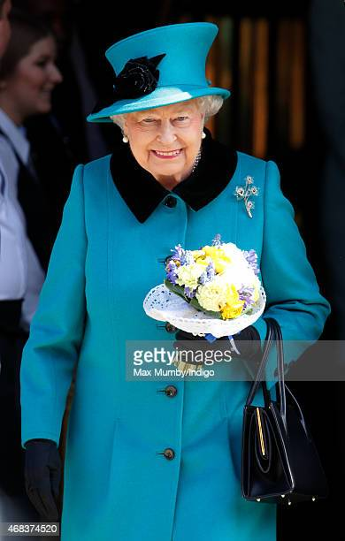 Queen Elizabeth II leaves Sheffield Town Hall after attending the traditional Royal Maundy Service at Sheffield Cathedral on April 2 2015 in...