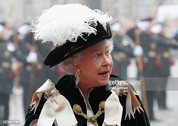 Queen Elizabeth II leaves St Giles Cathederal after the Thistle Ceremony on July 5, 2012 in Edinburgh, Scotland. Prince William, Duke of Cambridge...