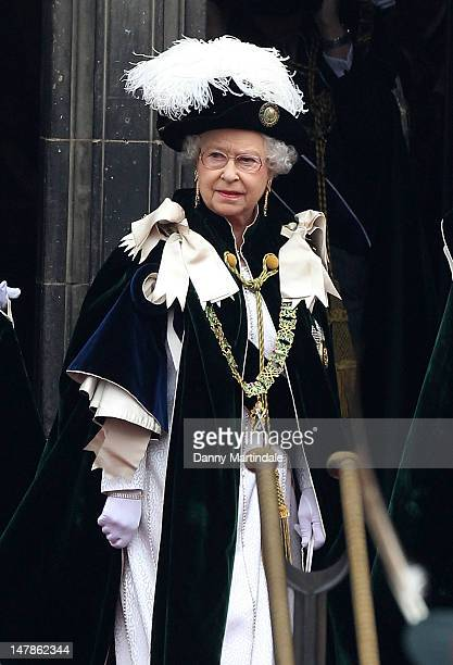Queen Elizabeth II leaves St Giles Cathederal after the Thistle Ceremony on July 5 2012 in Edinburgh Scotland Prince William Duke of Cambridge will...