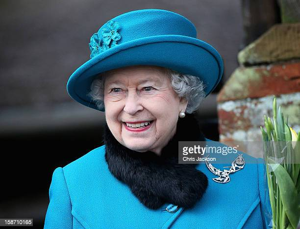 Queen Elizabeth II leaves St Mary Magdalene Church after attending the traditional Christmas Day church service on December 25, 2012 in Sandringham,...