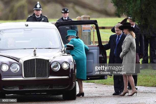 Queen Elizabeth II leaves St Mary Magdalene Church in Sandringham Norfolk after attending the morning church service