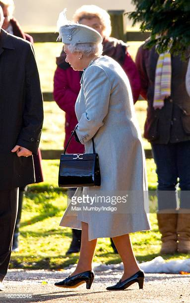 Queen Elizabeth II leaves St Mary Magdalene Church Sandringham after attending Sunday service along with Prince Philip Duke of Edinburgh on January...