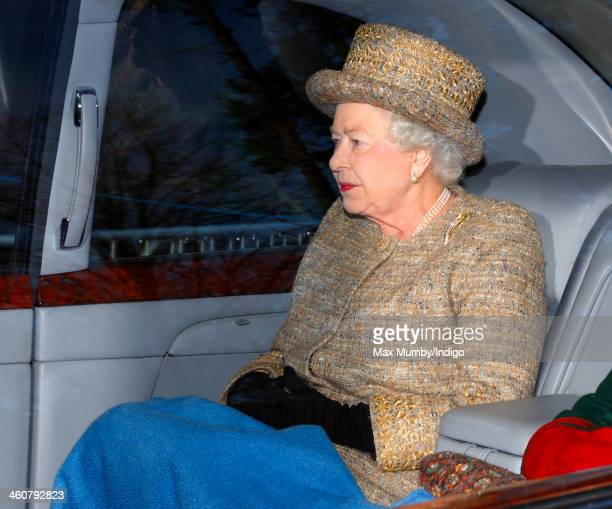 Queen Elizabeth II leaves St Mary Magdalene Church Sandringham after attending Sunday service on January 5 2014 near King's Lynn England