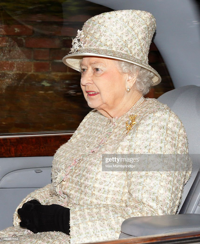 The Queen Attends Sunday Service At Sandringham : News Photo