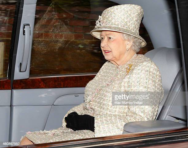Queen Elizabeth II leaves St Mary Magdalene Church Sandringham after attending Sunday service on December 28 2014 in King's Lynn England