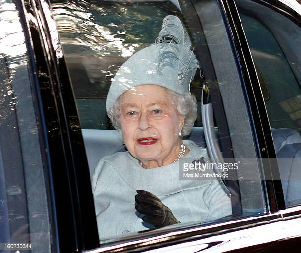 Queen Elizabeth II leaves St Mary Magdalene Church Sandringham in her Bentley car after attending Sunday service along with Prince Philip Duke of...
