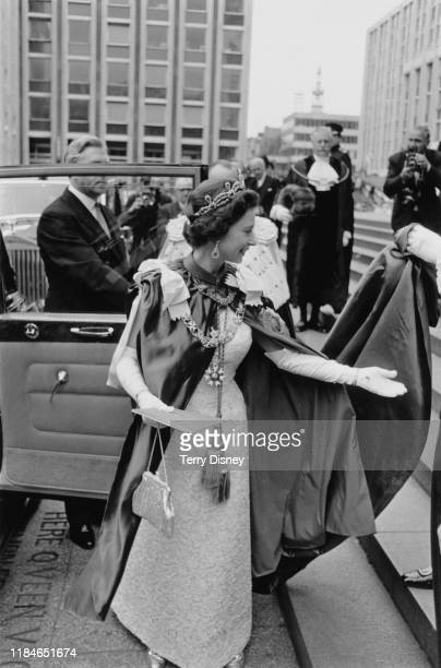 Queen Elizabeth II leaves St Paul's Cathedral in London after the Order of the Garter Service 1968