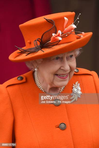 Queen Elizabeth II leaves the Christmas Day morning church service at St Mary Magdalene Church in Sandringham Norfolk