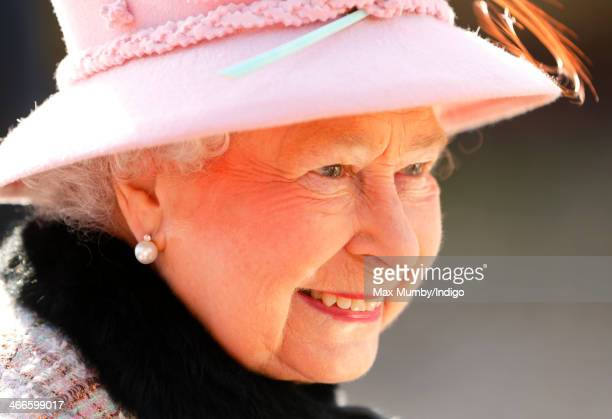 Queen Elizabeth II leaves the church of St Peter and St Paul in West Newton, after attending Sunday service on February 2, 2014 near King's Lynn,...
