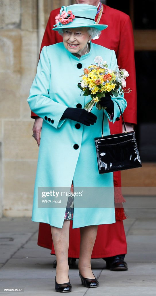Queen Elizabeth II leaves the Easter Day service at St George's Chapel on April 16, 2017 in Windsor, England.
