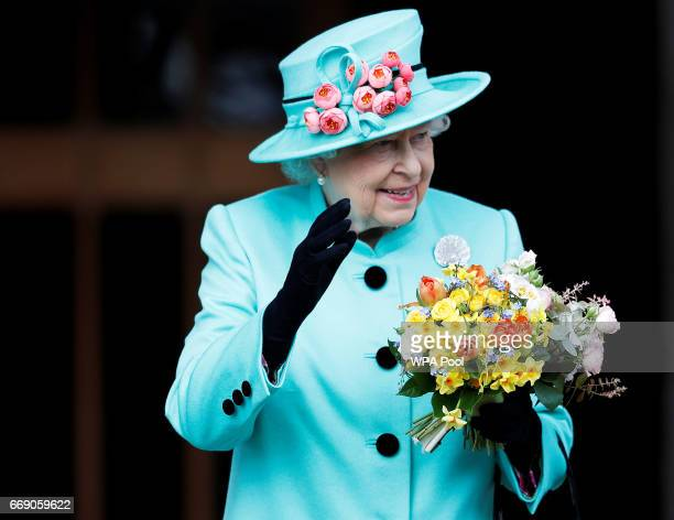 Queen Elizabeth II leaves the Easter Day service at St George's Chapel on April 16 2017 in Windsor England
