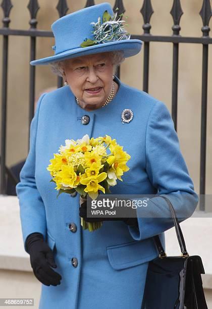 Queen Elizabeth II leaves the Easter Sunday service at St George's Chapel at Windsor Castle on April 5 2015 in Windsor England