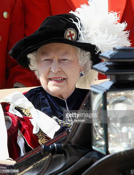 Queen Elizabeth II leaves the Garter Service at St George's Chapel in Windsor Castle on June 13, 2011 in Windsor, England. The Order of the Garter is...