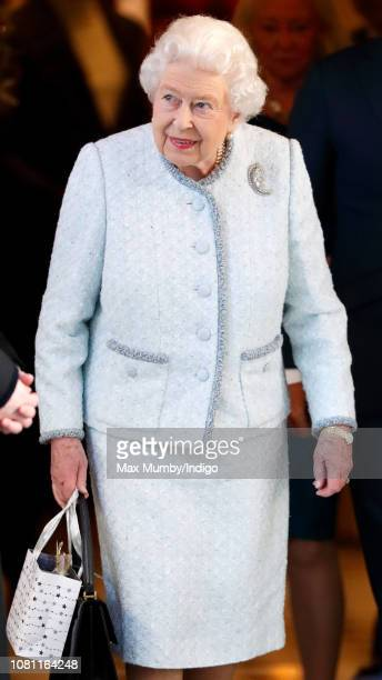 Queen Elizabeth II leaves the Goring Hotel after hosting a Christmas lunch for her close members of staff on December 11 2018 in London England