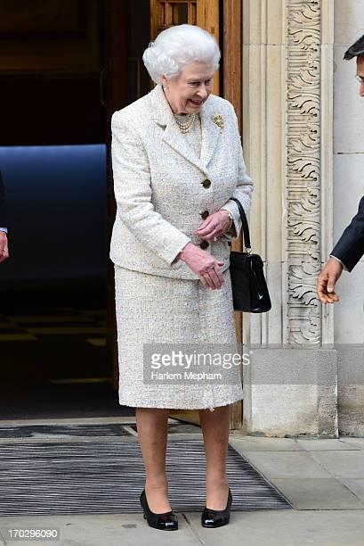 Queen Elizabeth II leaves The London Clinic on June 10, 2013 in London, England.
