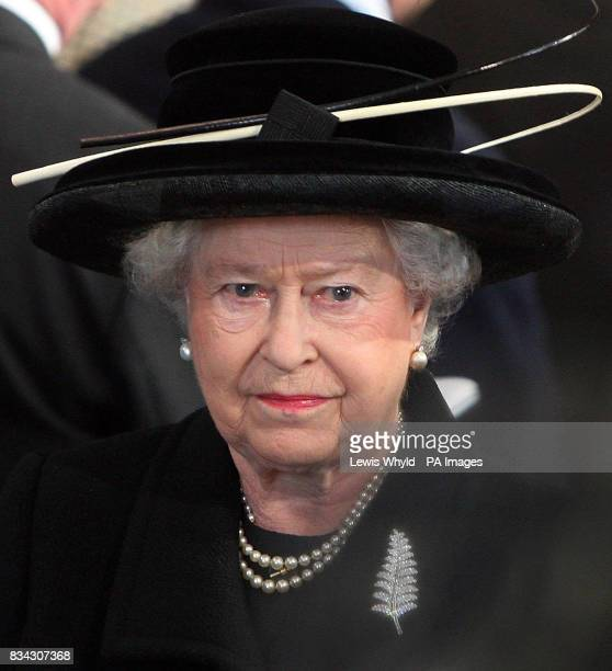 Queen Elizabeth II leaves the service of Thanksgiving for the life of Sir Edmund Hillary at St George's Chapel Windsor