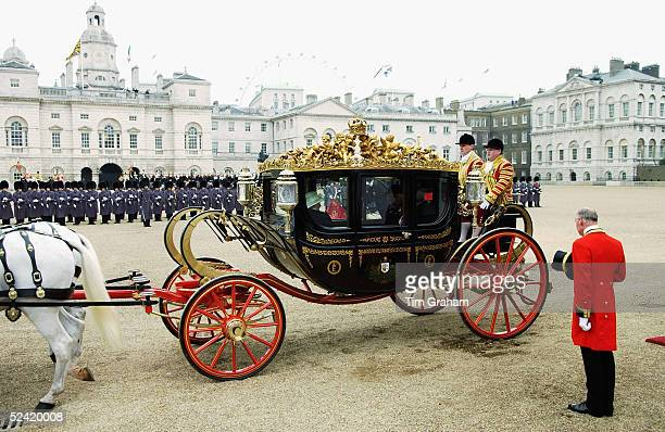 Queen Elizabeth II leaves the welcome ceremony for the Italian State Visit to the UK at Horse Guards Parade on March 15 2005 in London England