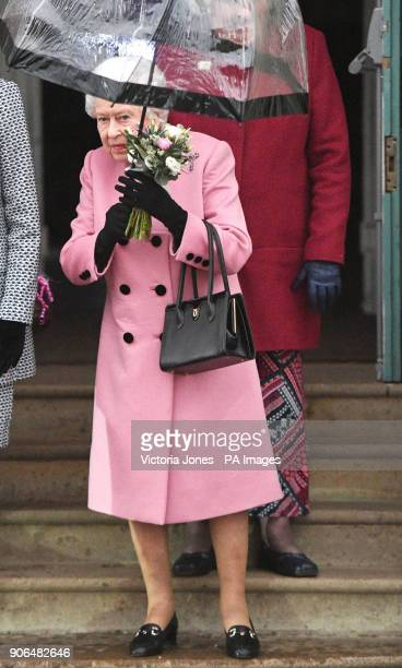Queen Elizabeth II leaves West Newton village hall in Norfolk after attending a meeting of the Sandringham Women's Institute of which she is president