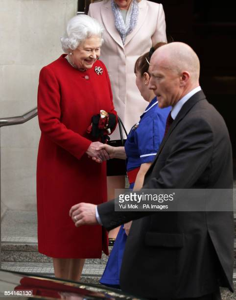Queen Elizabeth II leaving King Edward VII's Hospital in London where she was staying after being admitted with symptoms of gastroenteritis