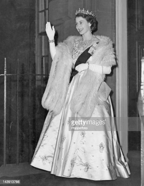 Queen Elizabeth II leaving the Royal Archers Hall Edinburgh after a ball given by the Royal Company of Archers 28th June 1952 The function is the...
