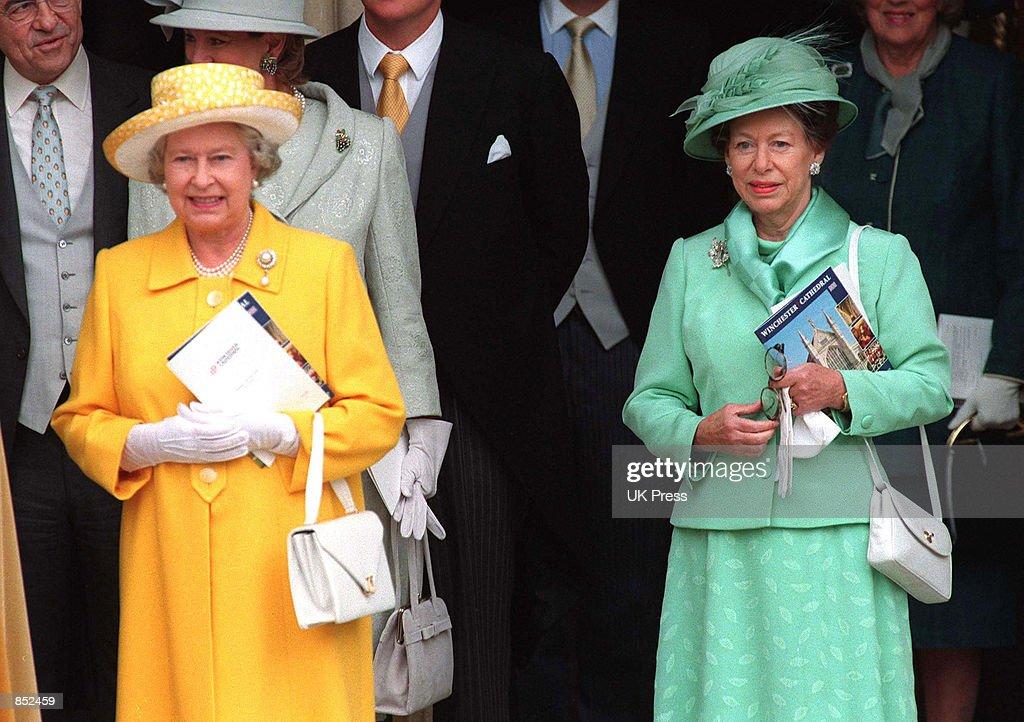 Princess Margaret Wedding.Queen Elizabeth Ii Left And Princess Margaret Attend The Wedding