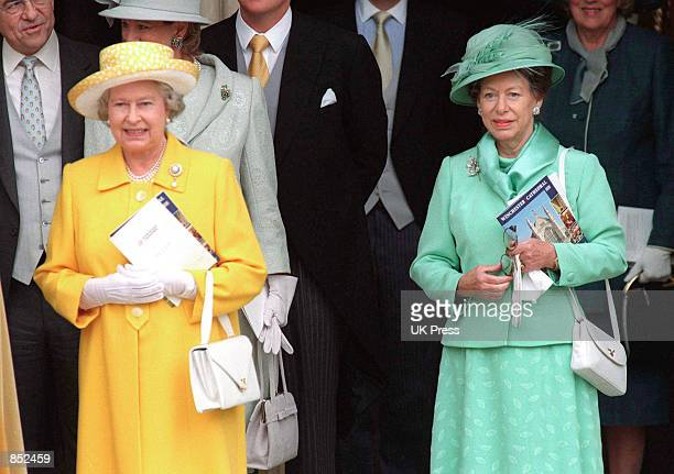 Queen Elizabeth II left and Princess Margaret attend the wedding of Timothy Knatchbull and Isabella Norman at Winchester Cathedral November 7 1998 in...