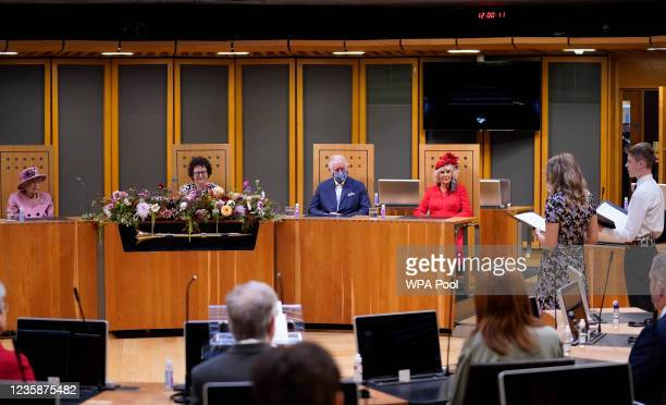 Queen Elizabeth II, Llywydd Elin Jones, Prince Charles, Prince of Wales, Camilla, Duchess of Cornwall listen to a reading of the specially...