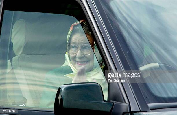 Queen Elizabeth II Looking Delighted After Watching Her Husband Prince Philip Taking The Lead In The International Driving Grand Prix At The Royal...