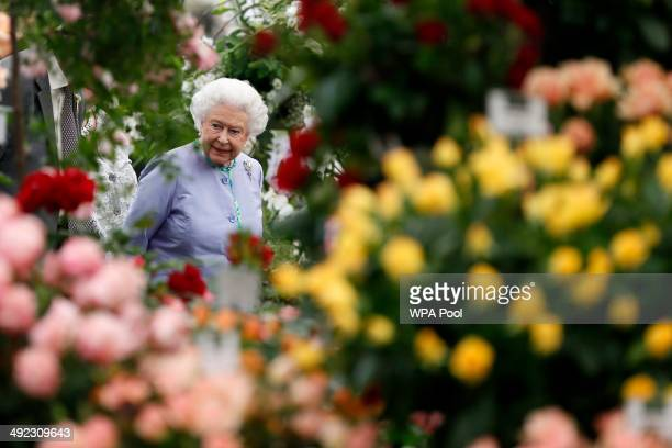 Queen Elizabeth II looks at a dispaly during a visit to the Chelsea Flower Show on press day on May 19 2014 in London England