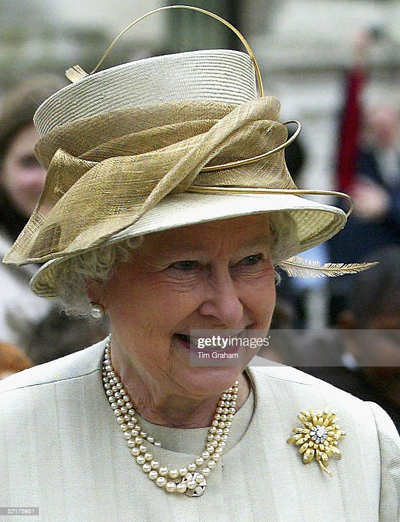 Queen Elizabeth II looks happy and smiles on the day of the announcement of the marriage of her son Prince Charles to Camilla Parker-Bowles as she visits the museum dedicated to Sir Winston Churchill February 10, 2005 in London. The Queen and Prince Philip stated that they offered the couple 'their warmest good wishes for their future together'.