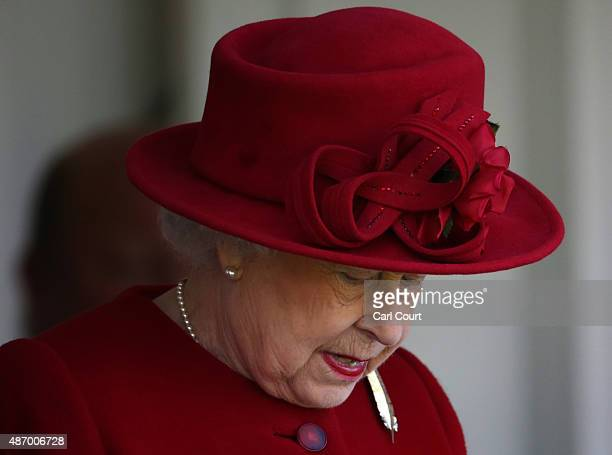 Queen Elizabeth II looks on as she arrives at the Braemar Gathering on September 5 2015 in Braemar Scotland There has been an annual gathering at...