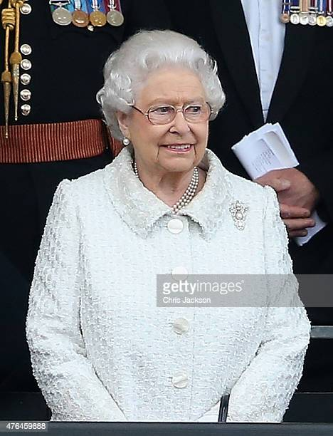 Queen Elizabeth II looks on as she is saluted by Gurkhas at the Gurkha 200 Pageant at the Royal Hospital Chelsea on June 9 2015 in London England For...