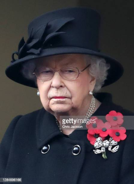 Queen Elizabeth II looks on during the Service of Remembrance at the Cenotaph at The Cenotaph on November 08 2020 in London England Remembrance...