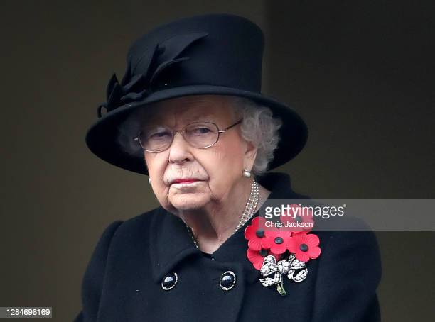 Queen Elizabeth II looks on during the Service of Remembrance at the Cenotaph at The Cenotaph on November 08, 2020 in London, England. Remembrance...