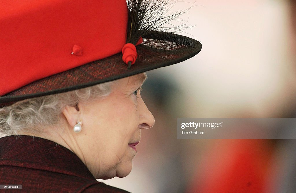 Queen Elizabeth II looks on during the welcome ceremony for the President of the Italian Republic, Carlo Azeglio Ciampi, at Horse Guards Parade on March 15, 2005 in London, England.