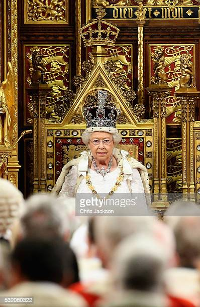 Queen Elizabeth II looks on in the House of Lords ahead of the Queen's Speech at the State Opening of Parliament in the Houses of Parliament on May...