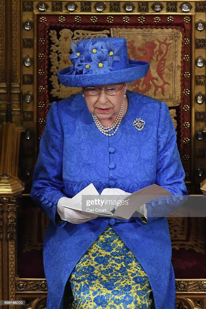 Queen Elizabeth II makes a speech at the State Opening Of Parliament in the House of Lords on June 21, 2017 in London, England. This year saw a scaled-back State opening of Parliament Ceremony with the Queen arriving by car rather than carriage and not wearing the Imperial State Crown or the Robes of State.