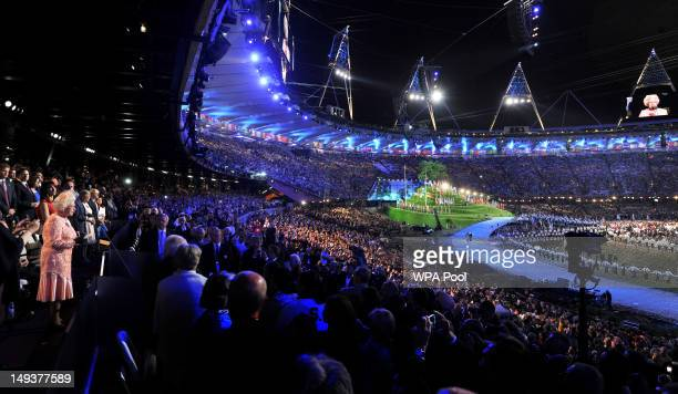 Queen Elizabeth II makes a speech during the Opening Ceremony of the London 2012 Olympic Games at the Olympic Stadium on July 27 2012 in London...