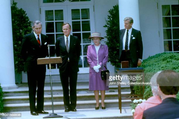 Queen Elizabeth II makes a state visit to the United States of America, At the White House Rose Garden, George HW Bush, President of the USA, 14th...